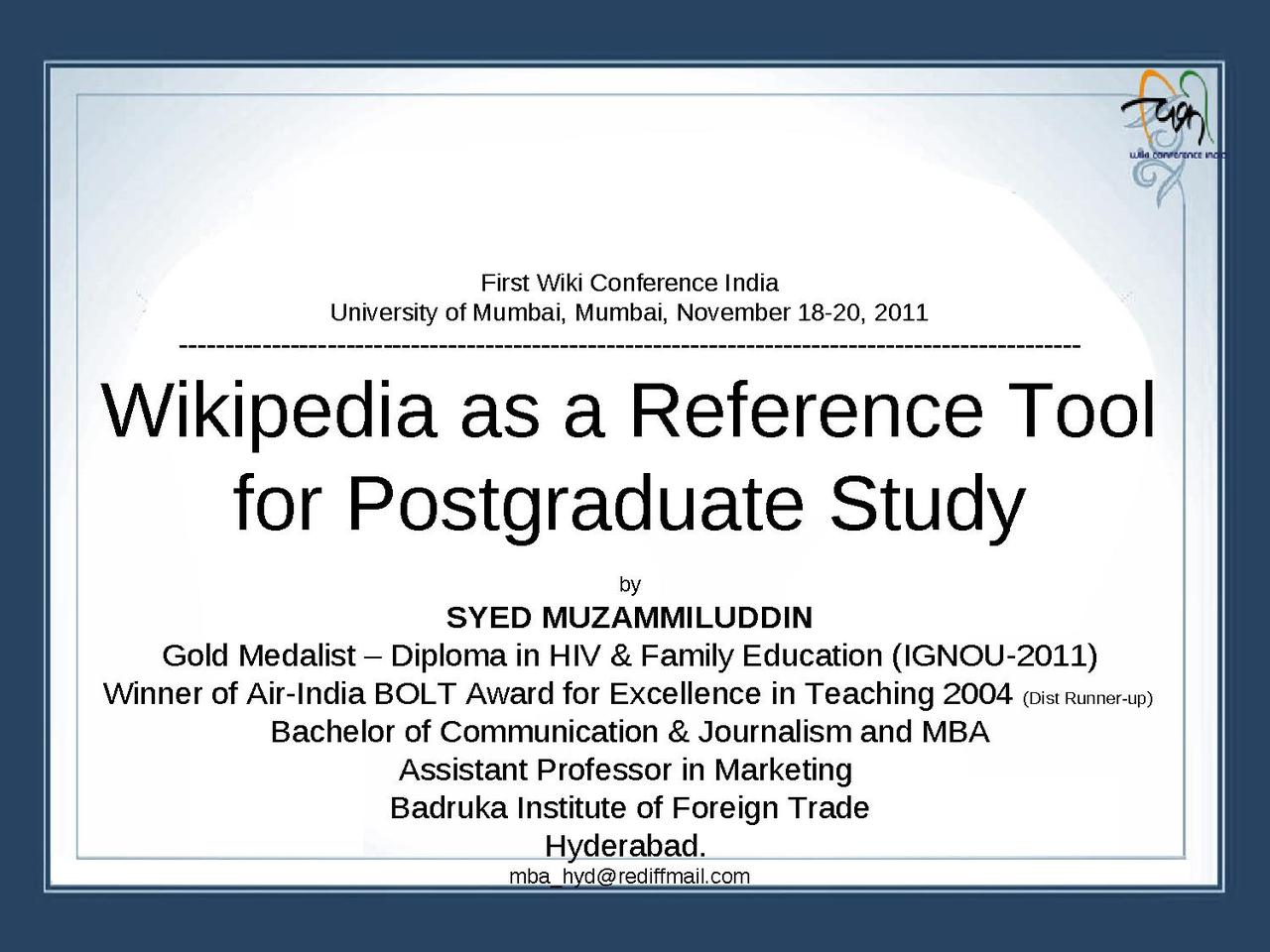 Reference postgraduate study