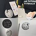 Wikipedia laptop stickers at the QAGOMA IWD 2020 Edit-a-thon in Brisbane.jpg