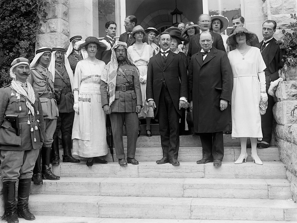 Winston Churchill and Abdullah I of Jordan 1921 (restored)
