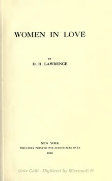 Women in Love, Lawrence, 1920.djvu