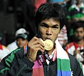 XIX Commonwealth Games-2010 Delhi Tennis (Men's Single) Somdev Devvarman of India won Gold Medal, at R. K. Khanna Tennis Stadium, in New Delhi on October 10, 2010.jpg
