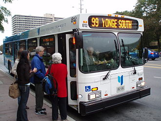 Yonge Street - A Route 99 Yonge South YRT bus.