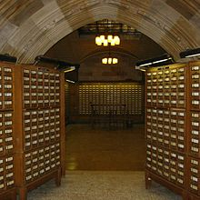 The card catalog files at Sterling Memorial Library, Yale University.
