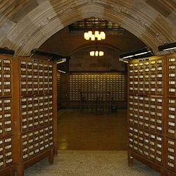 The card catalog at Yale University's Sterling Memorial Library goes almost completely unused, but adds to the austere atmosphere.