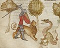 Ywain and his lion fighting a dragon.jpg