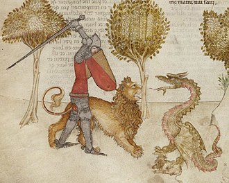 Lancelot-Grail - Yvain and his lion fighting a dragon in a 14th-century Italian illumination (BNF Français 343 Queste del Saint Graal)