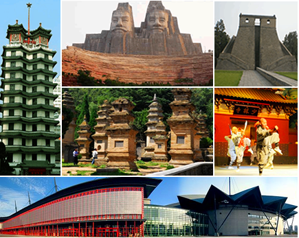 Clockwise from top left: Erqi Memorial Tower, Emperors Yan and Huang, Dengfeng Observatory, Shaolin Monastery, Zhengzhou Exhibition Center; and Center: The Pagoda Forest at the Shaolin Temple