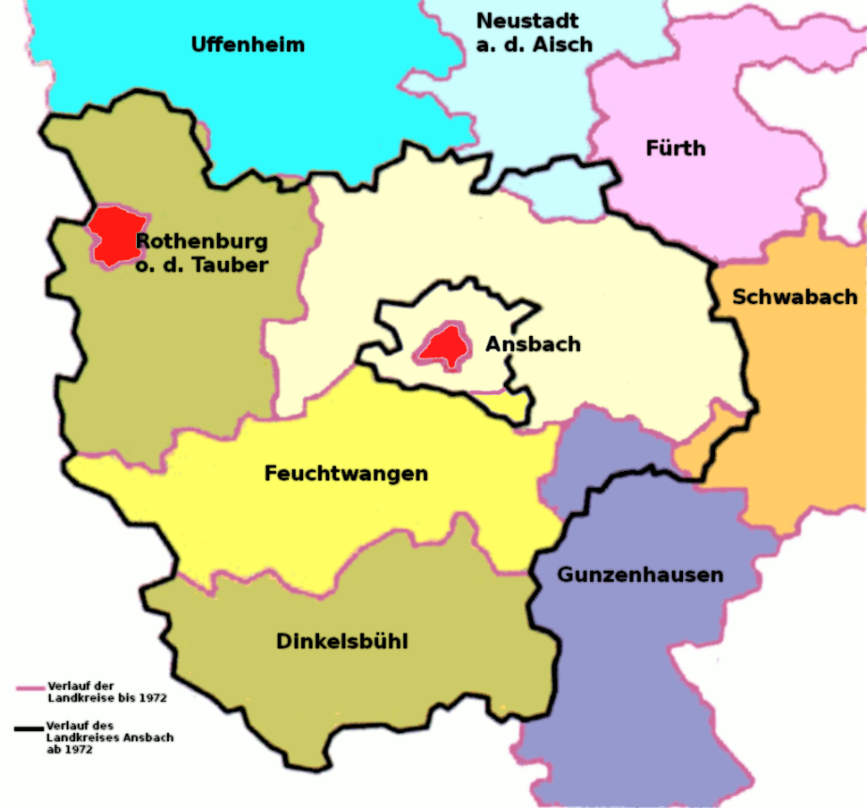 Zusammensetzung des Landkreises Ansbach