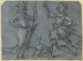 Zwei stehende Krieger, auf ihre Lanzen gestützt, zwischen ihnen ein Hund (SM 703z).png