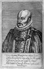 Estampe de Montaigne par Thomas de Leu ornant l édition des   Essais   de 1608, exécuté d après celui de Dumonstier. Le quatrain qui suit est attribué, sans fondement, à Malherbe.