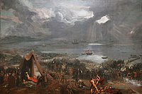 Battle of Clontarf, olja på canvas, målning av Hugh Frazer, 1826.
