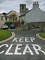 'Keep clear' road marking at Bradwell, Derbyshire.jpg