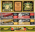 (Four canned meat labels -Swan Hams and Bacon. Swan brand brawn; Bulimba Meat Preserving Co, Queensland. Sheep's tongues (two different); and; Victory sheep tongues. 1900-1920?). (21271099362).jpg