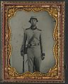 (Unidentified soldier in Confederate uniform with bayoneted musket and knife) (LOC) (14378952620).jpg