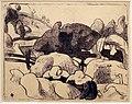 Émile bernard, donne che fanno covoni di paglia, zincografia, 1889.jpg