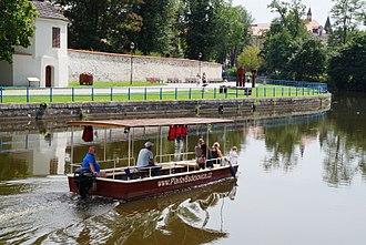 České Budějovice - Tourist boat on river in České Budějovice