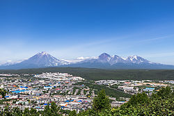 Aerial view of Petropavlovsk-Kamchatskiy with the Koryaksky volcano