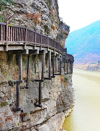 Historic roads and trails - Reconstructed ancient cliff path of Mingyue Gorge,Northern Sichuan, China,  part of the Shudao road system