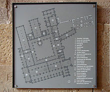 Map of the monastery engraved on a metal plaque