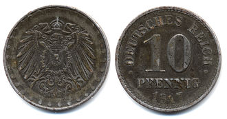 Pfennig - German Empire: 10 pfennig iron coin 1917