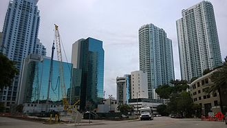 Panorama Tower - Site prep in 2014, behind existing 1980s office buildings at 1101 Brickell Avenue.