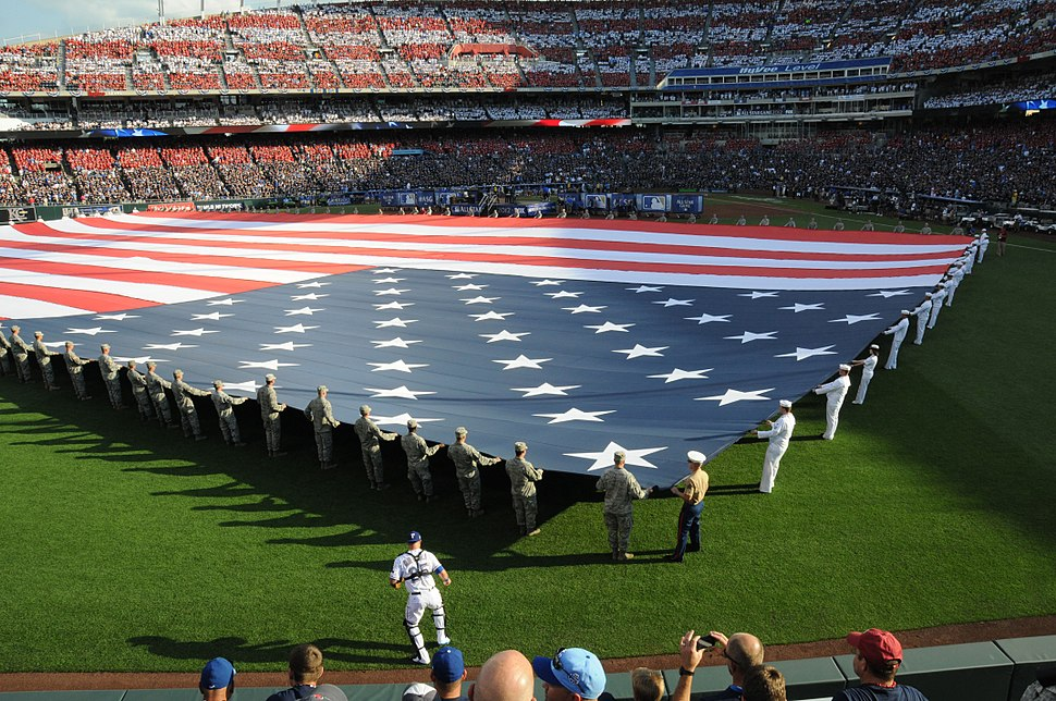 120710-N-MZ294-272 a giant American flag before the 2012 major league baseball All-Star Game