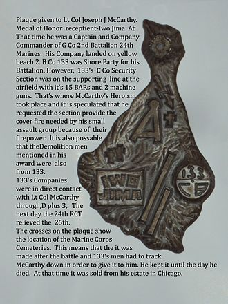 Naval Mobile Construction Battalion 133 - Fig. 4: 133 Plaque from the estate of Lt Col Joseph J. McCarthy and is zinc.