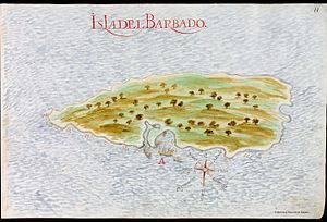 "History of Barbados - Spanish 1632 map of the ""isla del Barbado"" (""island of the Bearded Man"")."