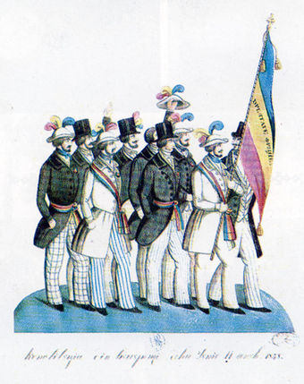 Romanian revolutionaries in Bucharest in 1848, carrying the Romanian tricolor 1848-revolutia-Romania.jpg