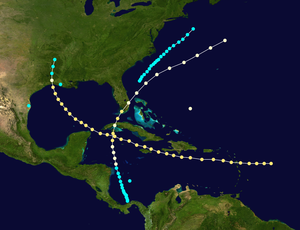 1865 Atlantic hurricane season - Image: 1865 Atlantic hurricane season summary map