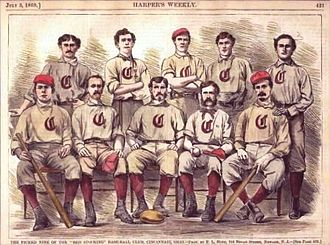 Cincinnati Red Stockings - Harpers Weekly representation of the Cincinnati Red Stockings.