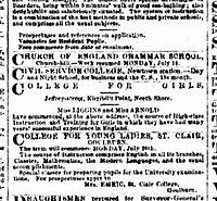Earliest newspaper advertisement mentioning Jeffrey Steet being for a college for girls