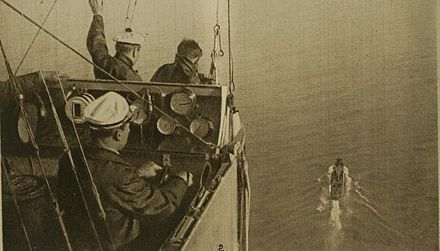 View from a French dirigible approaching a ship in 1918. 1918 view from French dirigible.jpg