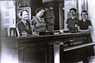 1930's - ca. - Alma Custead, Librarian, and Staff