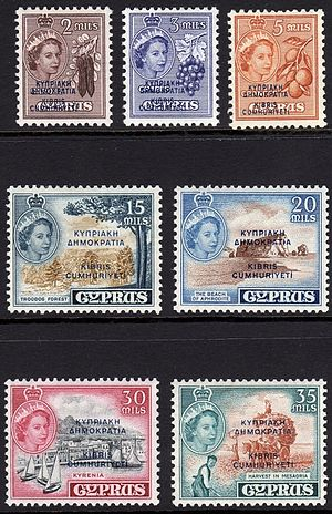 Postage stamps and postal history of Cyprus - 1955 stamps of Cyprus overprinted Cyprus Republic in 1960.