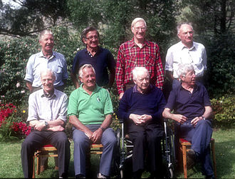 Kangchenjunga - First ascent reunion of 1990– front (left to right): Neil Mather, John Angelo Jackson, Charles Evans and Joe Brown and rear (left to right): Tony Streather, Norman Hardie, George Band and Professor John Clegg.