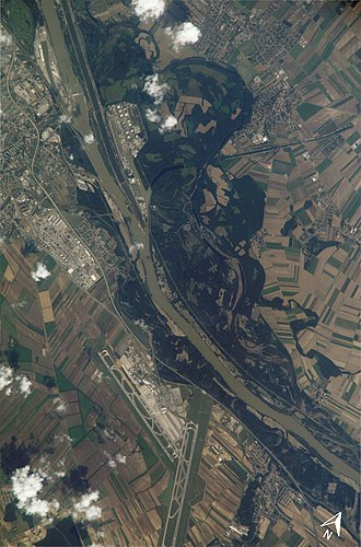 Lobau - Lobau (north of the Danube river) and Vienna Airport in Schwechat