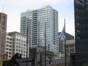 Joffrey Tower - Joffrey Tower behind Block 37 (June 2, 2008)
