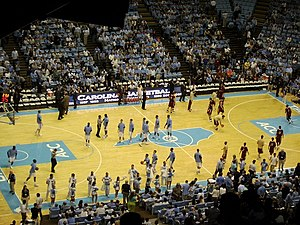 2011–12 North Carolina Tar Heels men's basketball team - The Tar Heels return to the court after halftime of the game against Boston College.