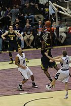 Trey Burke sets up an alley-oop to Glenn Robinson III for Michigan during  its 2012–13 Big Ten Conference season opener on January 3 against  Northwestern.