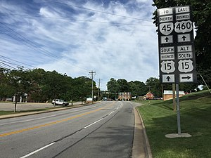 Special routes of U.S. Route 15 - Sign for US 15 Alt along US 15 Bus and US 460 Bus in Farmville