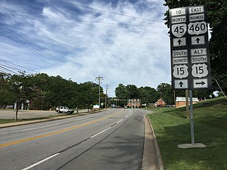 Special routes of U.S. Route 15 - Sign for US 15 Alt. along US 15 Bus. and US 460 Bus. in Farmville