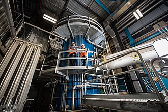 Facility for Rare Isotope Beams - The FRIB cryogenic plant made its first liquid helium at 4.5 kelvin (K) on 16 November 2017. Photo courtesy of MSU Communications and Brand Strategy.