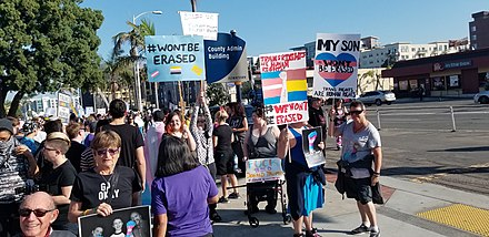 On October 27, 2018, hundreds of protesters marched in downtown San Diego to protest the Trump administration's plans to define gender as sex assigned at birth. 2018-10-27 San Diego transgender rights protest.jpg