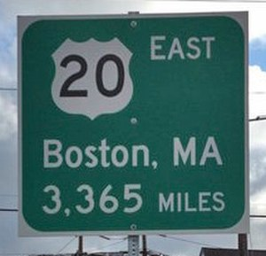 U.S. Route 20 - New sign at western origin in Newport, Oregon