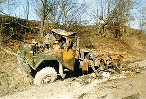 2000 Zhani-Vedeno ambush - Destroyed ZIL 131 armored truck