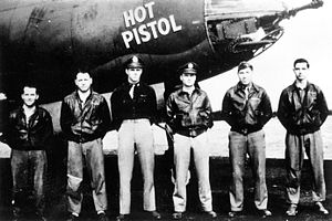 """RAF Great Dunmow - A bomber crew of the 552d Bombardment Squadron with their B-26 Marauder (RG-P, serial number 41-31633) nicknamed """"Hot Pistol""""."""