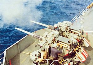 3in guns on USS Austin (LPD-4) firing 1976.jpg
