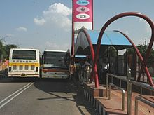 A bus stop of Jaipur BRTS