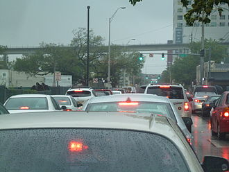 Gridlock - Traffic gridlock in Miami, Florida. Lights are green but backups fill all the space.
